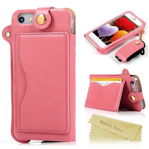 Luxury Crazy Horse Leather Fashion Cellphone Case Pouch w/Strap, Card Slot, Stand Function & Transparent Window for iPhone 5 5s - 8 Colors-Loluxe