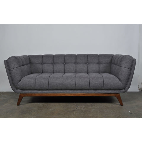 Medium Grey Linen Upholstered Modern Classic Mid-Century Sofa with Walnut Wood Legs-Living Room > Sofas-Loluxe