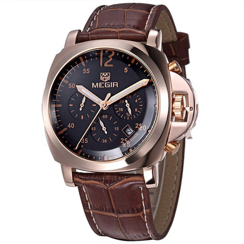 Megir Men Casual Watch Genuine Leather Luxury CHRONOGRAPH & 24 hours Function-Loluxe