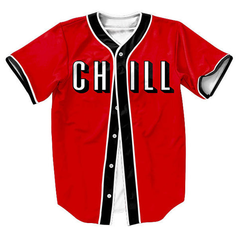 Men's Baseball-Style 3D CHILL Print Jersey S-3XL-Loluxe