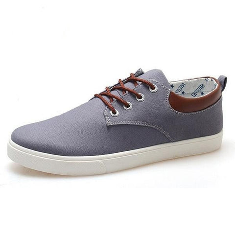 Men's Casual Canvas Leather Trim Walking Shoes 3 Colors-Loluxe