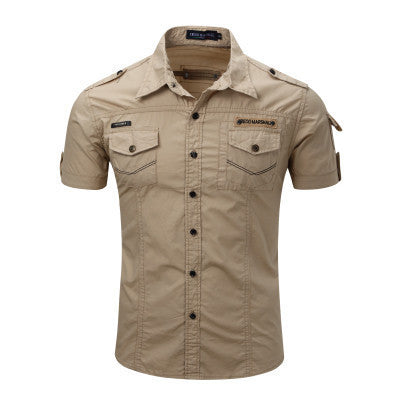 Men's Casual Cargo-Style Button-Front Short-Sleeve Top S-3XL 4 Colors 2 Styles-Loluxe