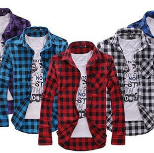 Men's Casual Plaid Long-Sleeve Top M-2XL 4 Colors-Loluxe