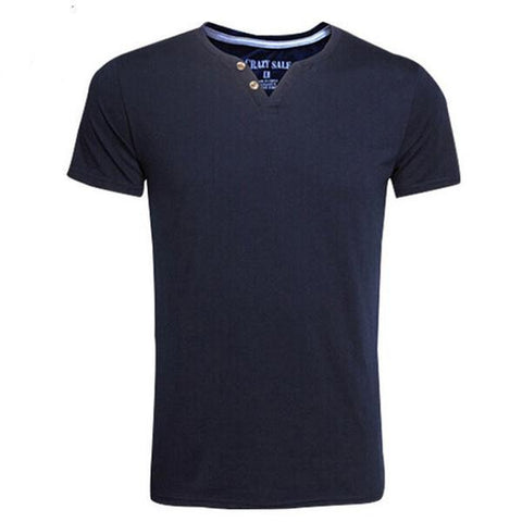 Men's Casual Sporty Button V-Neck Tee-Shirt M-3XL 4 Colors-Loluxe