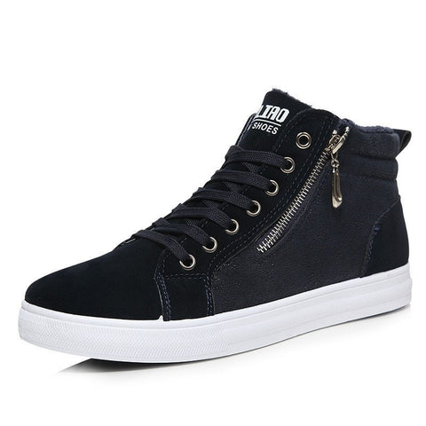 Men's Casual Suede Fashion Zip High-Top Shoes 2 Colors-Loluxe