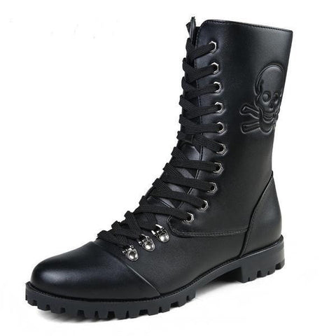 Men's Fashion High Lace-Up Skull Print Waterproof Motorcycle Boots-Loluxe