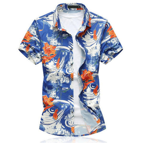 Men's Floral-Print Hawaiian Short-Sleeve Casual Top M-7XL 2 Colors-Loluxe