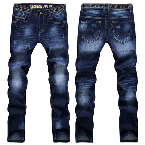 Men's High-Quality Denim Slim-Fit Classic-Style Jeans Sizes 28-38 Two Colors-Loluxe