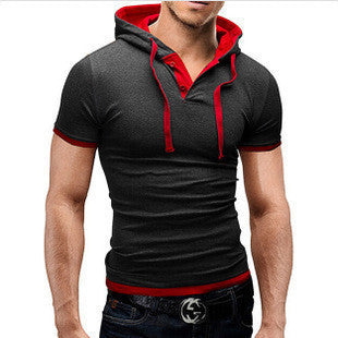 Men's Hooded Casual Slim-Fit Fashion Short-Sleeve Top L-3XL 3 Colors-Loluxe