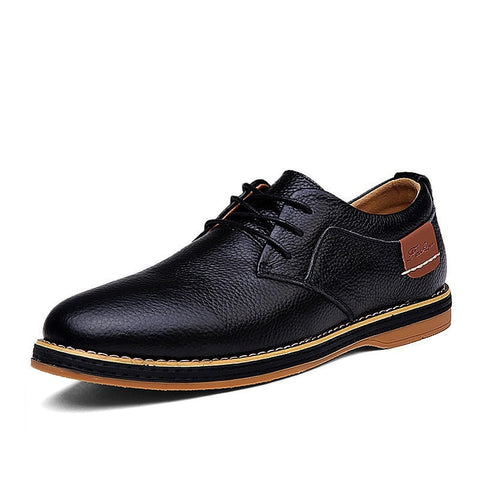 Men's Lace-Up Genuine Leather Lined/Unlined Oxford Dress Shoes 3 Colors-Loluxe