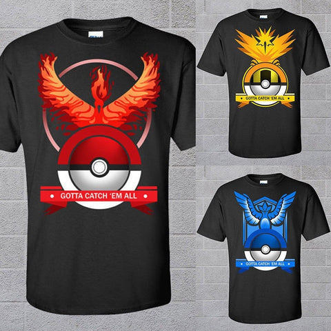 Men's Pokemon Go Team Casual Short-Sleeve T-Shirt S-2XL 3 Colors-Loluxe