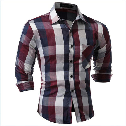 Men's Spring/Summer Long-Sleeve Plaid Casual Shirt XXS-L 2 Colors-Loluxe