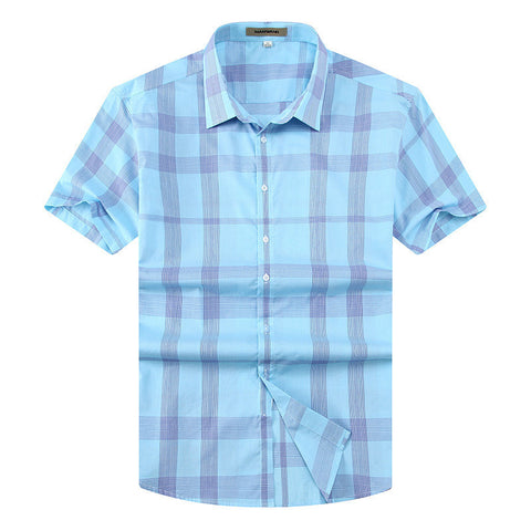 Men's Summer Fashion Plaid Short-Sleeve Slim-Fit Casual Shirt 3XL-7XL 2 Colors-Loluxe