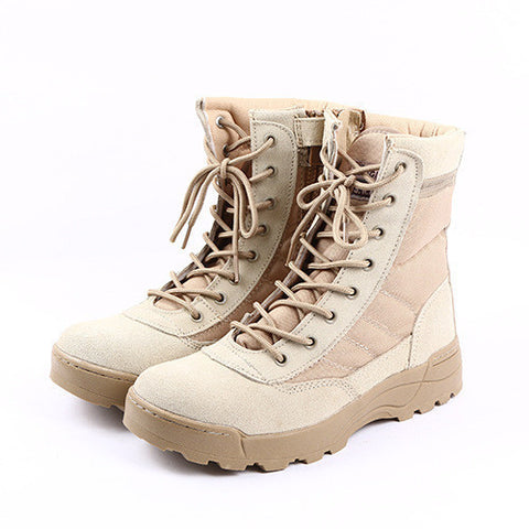 Men's Tactical Military-Style Leather Canvas Outdoor Boots 2 Colors-Loluxe