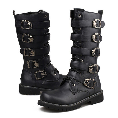 Men's Tall Buckle Accent Leather Punk Motorcycle-Style Fashion Boots 2 Colors-Loluxe