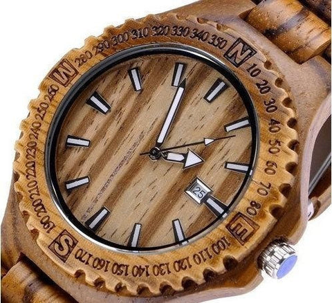 Men's Wooden Watch Zebra Design Calender and Waterproof-Loluxe