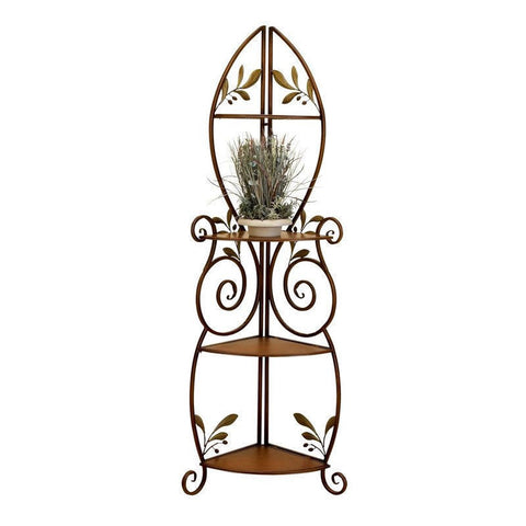 Metal and Wood 3-Shelf Corner Bakers Rack with Floral Leaf Accents-Kitchen > Bakers Racks-Loluxe