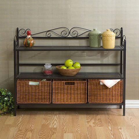 Metal Kitchen Baker's Rack with Three Rattan Drawers-Kitchen > Bakers Racks-Loluxe