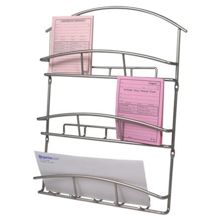Metal Wall Mounted Letter Holder Mail Sorter Organizer in Satin Nickel-Office > Letter Holders-Loluxe