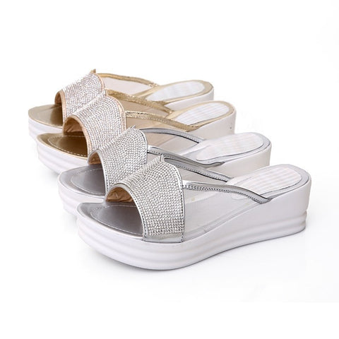 Metallic Shimmer Slip-On Comfortable Wedge Sandals 2 Colors-Loluxe