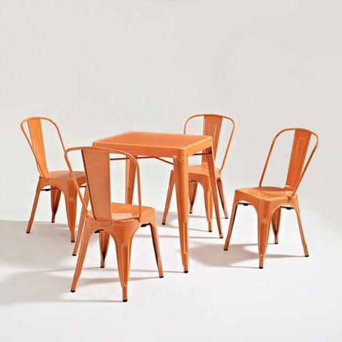 Mid Century French Cafe Style Metal Dining Table in Orange-Dining > Dining Tables-Loluxe