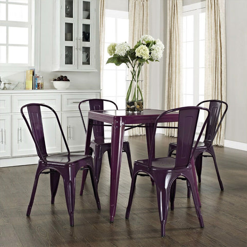 Mid-century French Cafe Style Powder-coated Steel Dining Table in Purple-Dining > Dining Tables-Loluxe