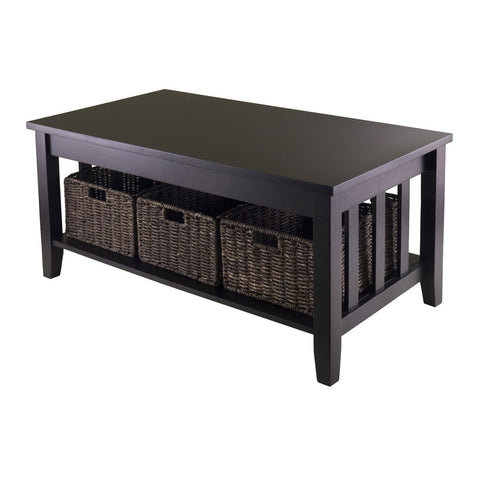 Mission Style Dark Wood Coffee Table with 3-Folding Storage Baskets-Living Room > Coffee Tables-Loluxe
