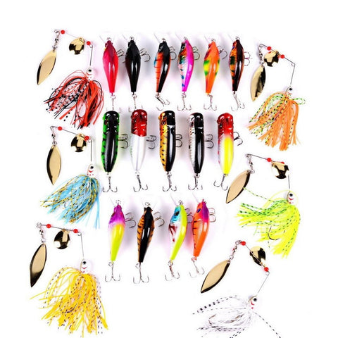 Mixed 21 piece Crank Popper Spinners Fishing Lures Set-Loluxe