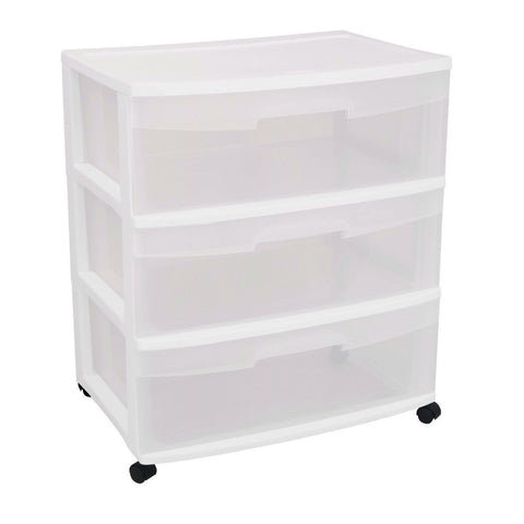 Mobile 3-Drawer Storage Cart Wardrobe Home Storage Cabinet in Clear White-Accents > Storage Cabinets-Loluxe