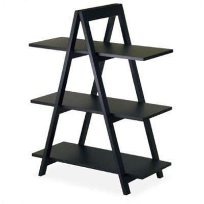 Modern 3-Tier A-Frame Display Shelf Bookcase in Black-Accents-Loluxe