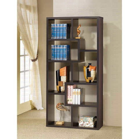 Modern 70.75-inch High Display Cabinet Bookcase in Black Wood Finish-Living Room > Bookcases-Loluxe