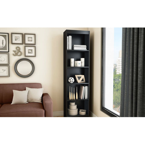 Modern 71-inch Tall Skinny 5-Shelf Bookcase in Black Wood Finish-Living Room > Bookcases-Loluxe