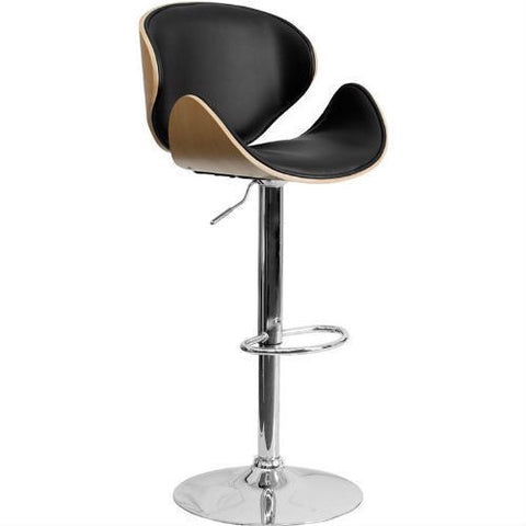 Modern Adjustable Height Barstool with Curved Black Vinyl Seat & Back-Dining > Barstools-Loluxe