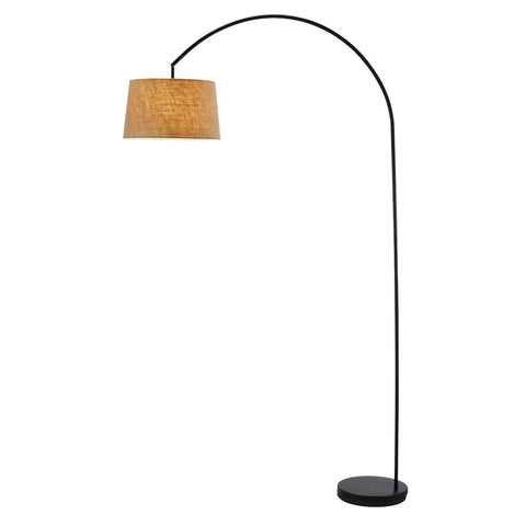 Modern Arching Floor Lamp in Matte Black with Taupe Burlap Fabric Drum Shade