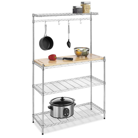 Modern Bakers Rack in Chrome Steel with Removable Wood Cutting Board-Kitchen > Bakers Racks-Loluxe