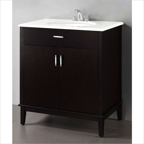 Modern Bathroom Vanity in Dark Brown Espresso with Sink and White Marble Top