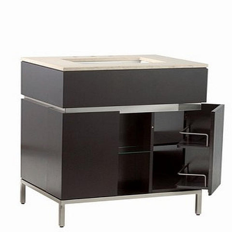 Modern Bathroom Vanity in Espresso with Brushed Nickel Metal Legs-Bathroom > Bathroom Vanities-Loluxe