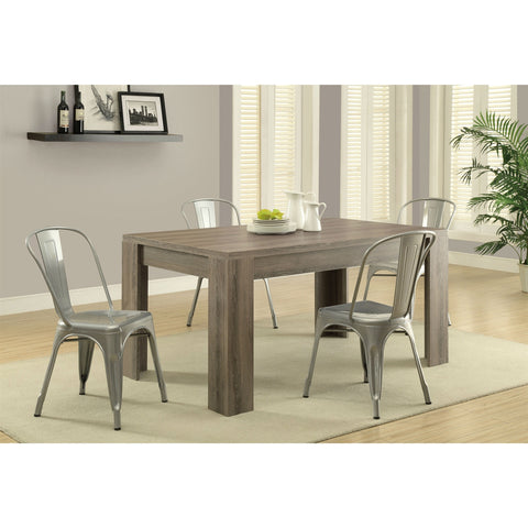Modern Block Leg Rectangular Dining Table in Dark Taupe Wood Finish-Dining > Dining Tables-Loluxe