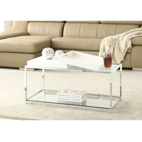 Modern Chrome Metal Coffee Table with 2 White Removable Trays-Living Room > Coffee Tables-Loluxe