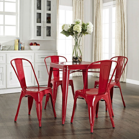 Modern Classic French Cafe Style Metal Dining Table in Red-Dining > Dining Tables-Loluxe