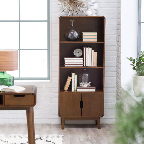 Modern Classic Mid-Century Style Bookcase Cabinet in Wallnut Wood Finish-Living Room > Bookcases-Loluxe