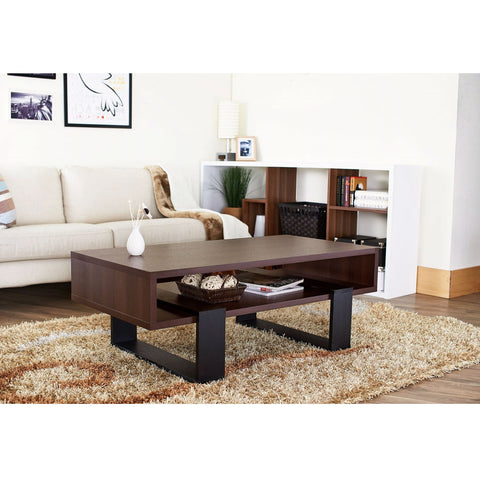 Modern Coffee Table in Black and Walnut Brown Finish-Living Room > Coffee Tables-Loluxe
