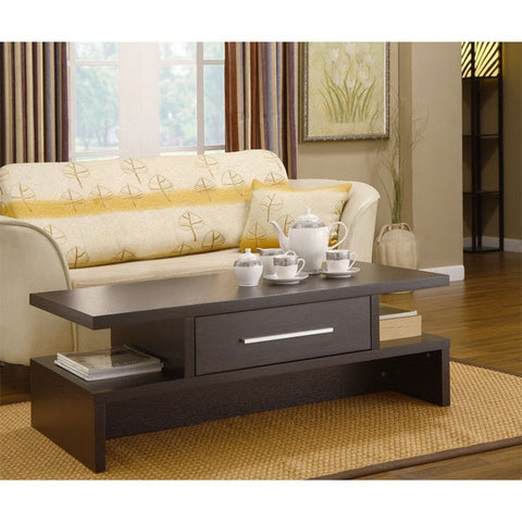 Modern Coffee Table in Coffee Bean Finish with Center Drawer-Living Room > Coffee Tables-Loluxe