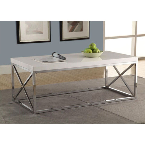 Modern Coffee Table in Glossy White with Chrome Metal Frame-Living Room > Coffee Tables-Loluxe