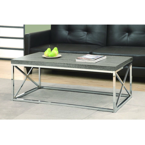 Modern Coffee Table with Chrome Metal Frame and Dark Tape Wood Top-Living Room > Coffee Tables-Loluxe