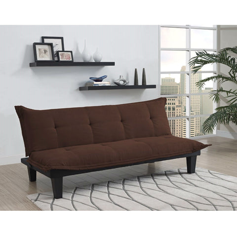 Modern Convertible Sofa Bed Futon Lounger in Brown Microfiber-Living Room > Sofas-Loluxe