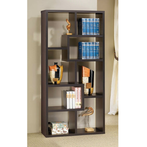 Modern Cube Contemporary Style Bookcase in Cappuccino Finish-Living Room > Bookcases-Loluxe