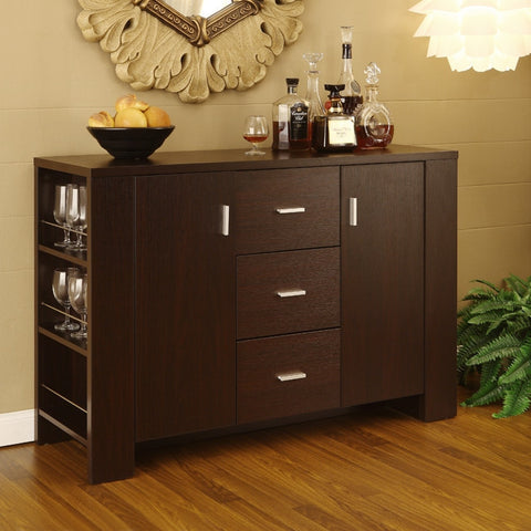 Modern Dining Buffet Sideboard Server in Cappuccino Finish-Dining > Sideboards & Buffets-Loluxe