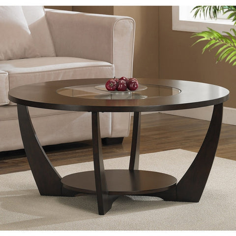 Modern Espresso Coffee Table with Shelf and Glass Insert-Living Room > Coffee Tables-Loluxe