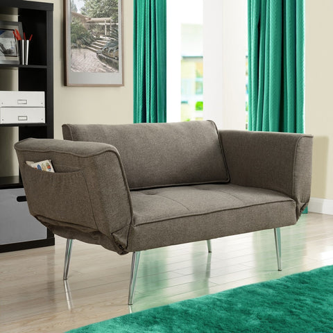 Modern Euro Style Futon Sofa Bed with metal Legs in Gray Upholstery-Living Room > Futons-Loluxe